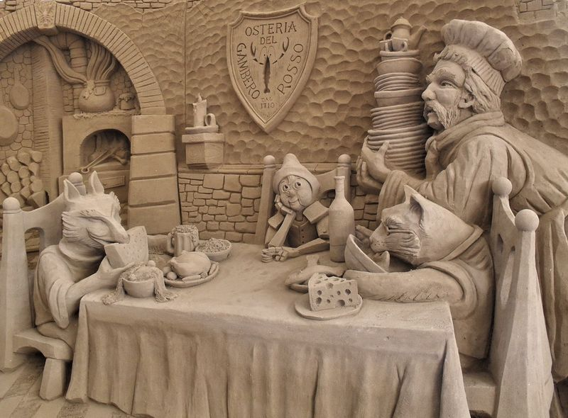 Pinocchio's story in sand